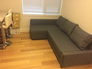 My apartment is slowly being furnished, I now have a couch, cutlery and chairs!