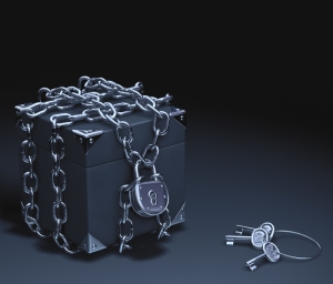 Black box super secure with chains and padlock.